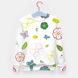 Flowers garden on white Sudadera para niños miniature