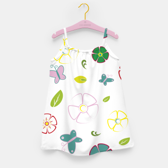 Flowers garden on white Vestido para niñas miniature