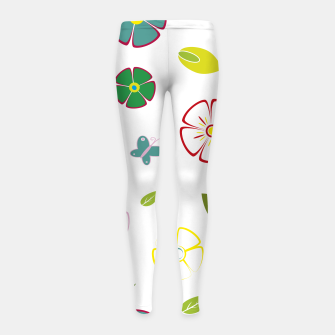 Flowers garden on white Leggings para niña miniature