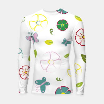 Flowers garden on white Longsleeve rashguard miniature