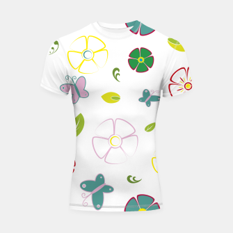Flowers garden on white Shortsleeve rashguard miniature