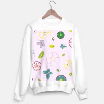 Garden flowers on pink Sudadera regular miniature