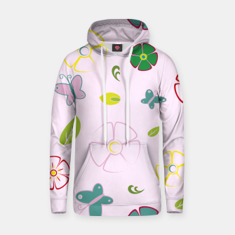 Garden flowers on pink Sudadera con capucha miniature
