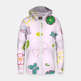 Thumbnail image of Garden flowers on pink Sudadera con capucha y cremallera , Live Heroes