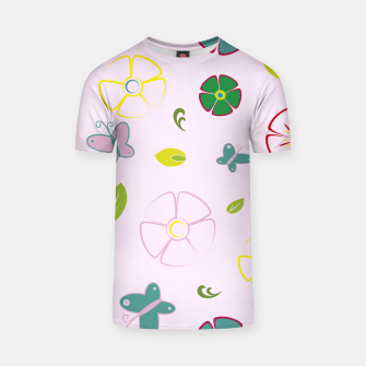 Garden flowers on pink Camiseta miniature