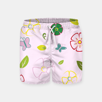 Garden flowers on pink Pantalones de baño miniature