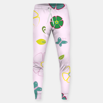 Thumbnail image of Garden flowers on pink Pantalones de chándal , Live Heroes