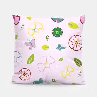 Thumbnail image of Garden flowers on pink Almohada, Live Heroes