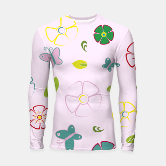 Garden flowers on pink Longsleeve rashguard miniature