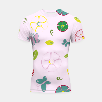 Thumbnail image of Garden flowers on pink Shortsleeve rashguard, Live Heroes