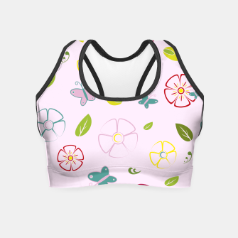 Thumbnail image of Garden flowers on pink Crop Top, Live Heroes