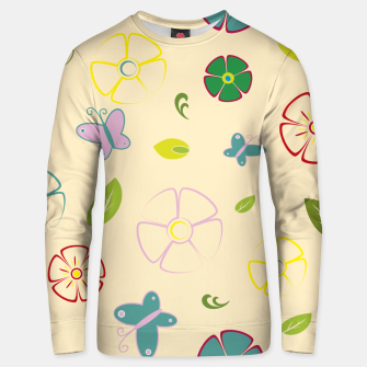 Garden flowers on yellow Sudadera unisex miniature