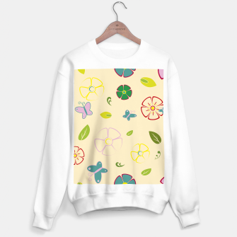 Garden flowers on yellow Sudadera regular miniature