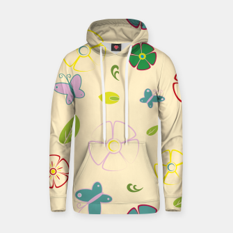 Garden flowers on yellow Sudadera con capucha miniature