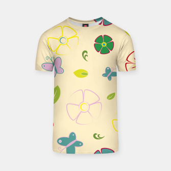 Garden flowers on yellow Camiseta miniature