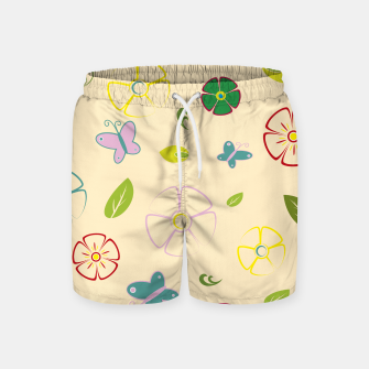 Garden flowers on yellow Pantalones de baño miniature