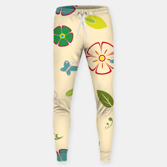 Thumbnail image of Garden flowers on yellow Pantalones de chándal , Live Heroes