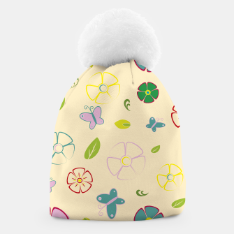 Garden flowers on yellow Gorro miniature