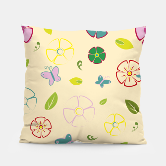 Miniature de image de Garden flowers on yellow Almohada, Live Heroes