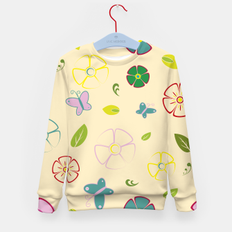 Garden flowers on yellow Sudadera para niños miniature
