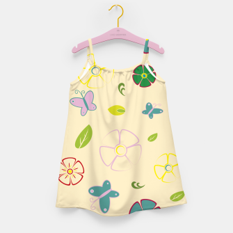 Garden flowers on yellow Vestido para niñas miniature
