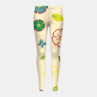 Garden flowers on yellow Leggings para niña miniature