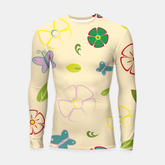 Garden flowers on yellow Longsleeve rashguard miniature