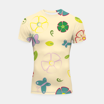 Thumbnail image of Garden flowers on yellow Shortsleeve rashguard, Live Heroes