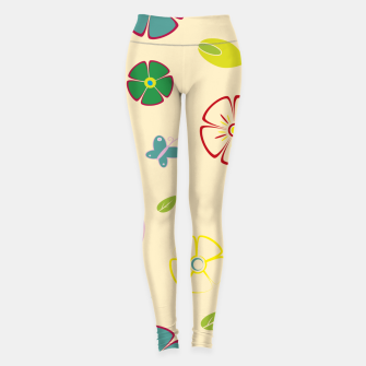 Garden flowers on yellow Leggings miniature