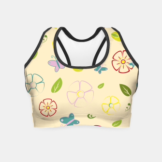 Garden flowers on yellow Crop Top miniature