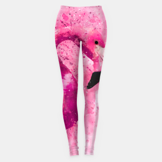 Thumbnail image of Flamingo Pink Pop Culture Animal Bird Watercolor Leggings, Live Heroes
