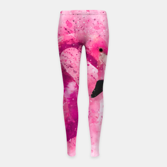 Imagen en miniatura de Flamingo Pink Pop Culture Animal Bird Watercolor Girl's leggings, Live Heroes