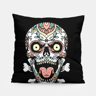 Thumbnail image of Mexican Skull Pillow, Live Heroes
