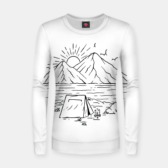 Miniatur Camping Lake and Mountain Women sweater, Live Heroes