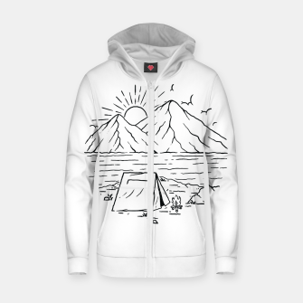 Miniatur Camping Lake and Mountain Zip up hoodie, Live Heroes