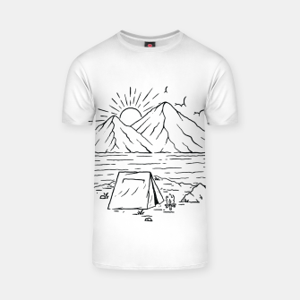Miniatur Camping Lake and Mountain T-shirt, Live Heroes