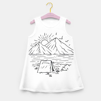 Miniatur Camping Lake and Mountain Girl's summer dress, Live Heroes