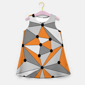 Thumbnail image of Abstract geometric pattern - orange and gray. Girl's summer dress, Live Heroes