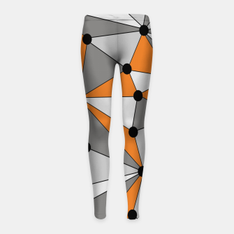 Imagen en miniatura de Abstract geometric pattern - orange and gray. Girl's leggings, Live Heroes
