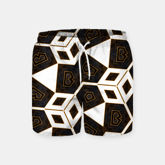 Thumbnail image of ITGRLBLK225346RM15 Abstract Geometric Pattern Swim Shorts, Live Heroes