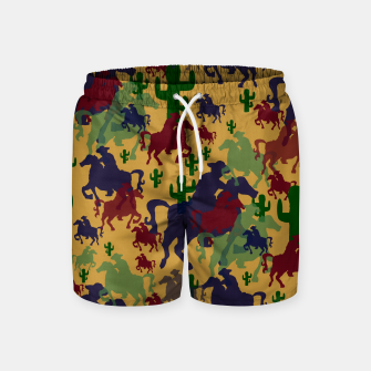 Miniatur Cowboys Pattern Swim Shorts, Live Heroes