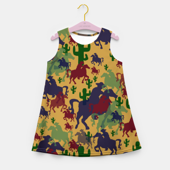 Miniatur Cowboys Pattern Girl's summer dress, Live Heroes
