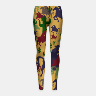 Miniatur Cowboys Pattern Girl's leggings, Live Heroes