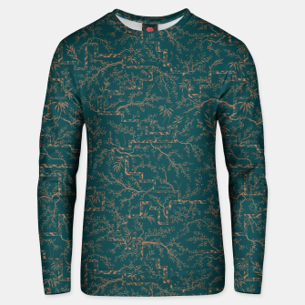 Thumbnail image of Antique copper sakura bloom on dark green silk Unisex sweater, Live Heroes