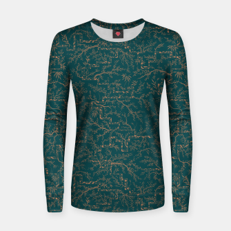 Thumbnail image of Antique copper sakura bloom on dark green silk Women sweater, Live Heroes