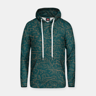Thumbnail image of Antique copper sakura bloom on dark green silk Hoodie, Live Heroes