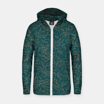 Thumbnail image of Antique copper sakura bloom on dark green silk Zip up hoodie, Live Heroes