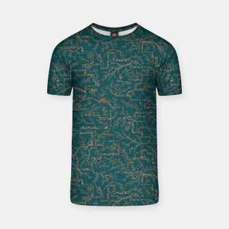 Thumbnail image of Antique copper sakura bloom on dark green silk T-shirt, Live Heroes