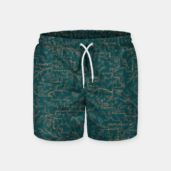 Thumbnail image of Antique copper sakura bloom on dark green silk Swim Shorts, Live Heroes