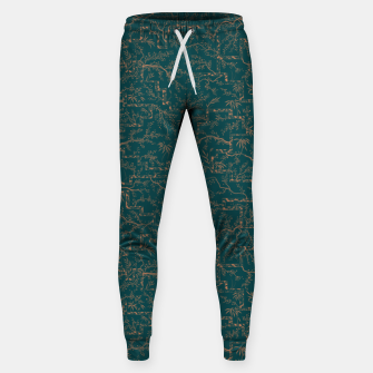 Thumbnail image of Antique copper sakura bloom on dark green silk Sweatpants, Live Heroes